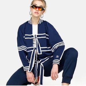 Adidas batwing track jacket in navy tie tracktop